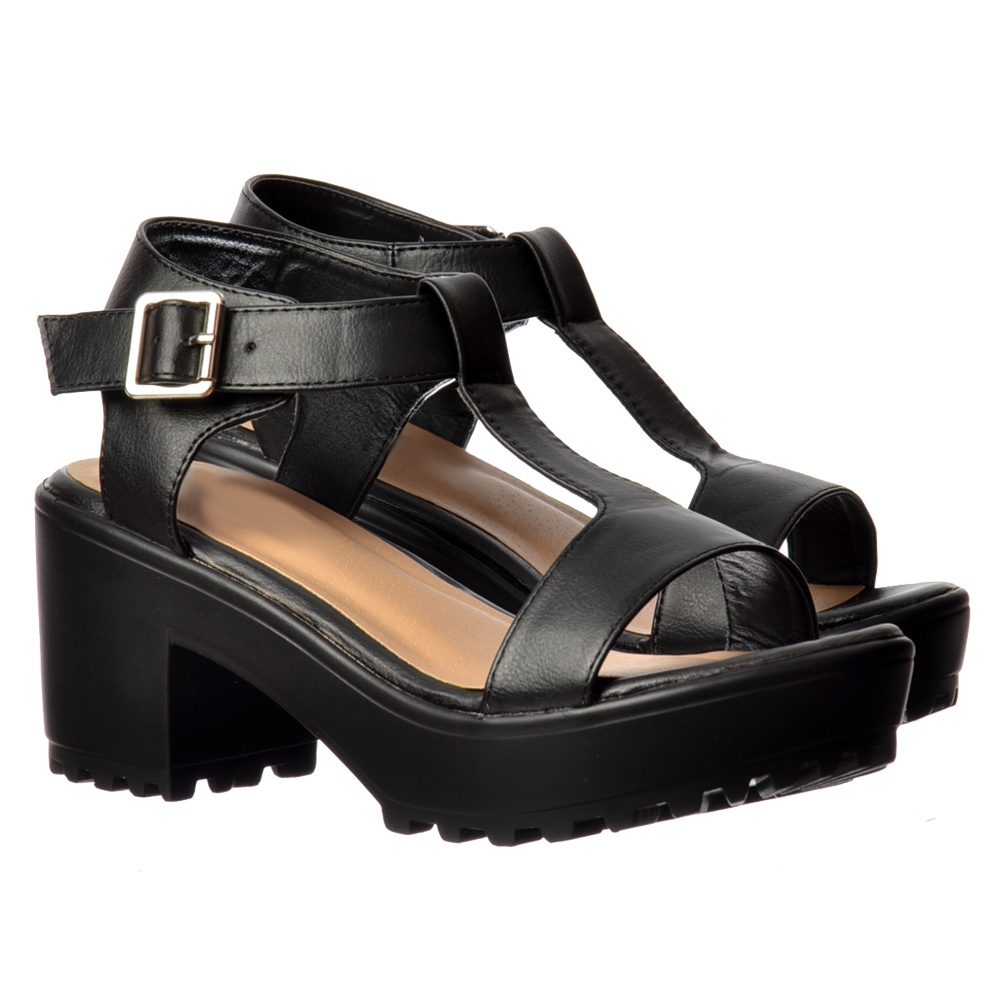 2832c26c1 Onlineshoe T Bar Low Block Heel Cleated Sole Summer Sandals - Black ...