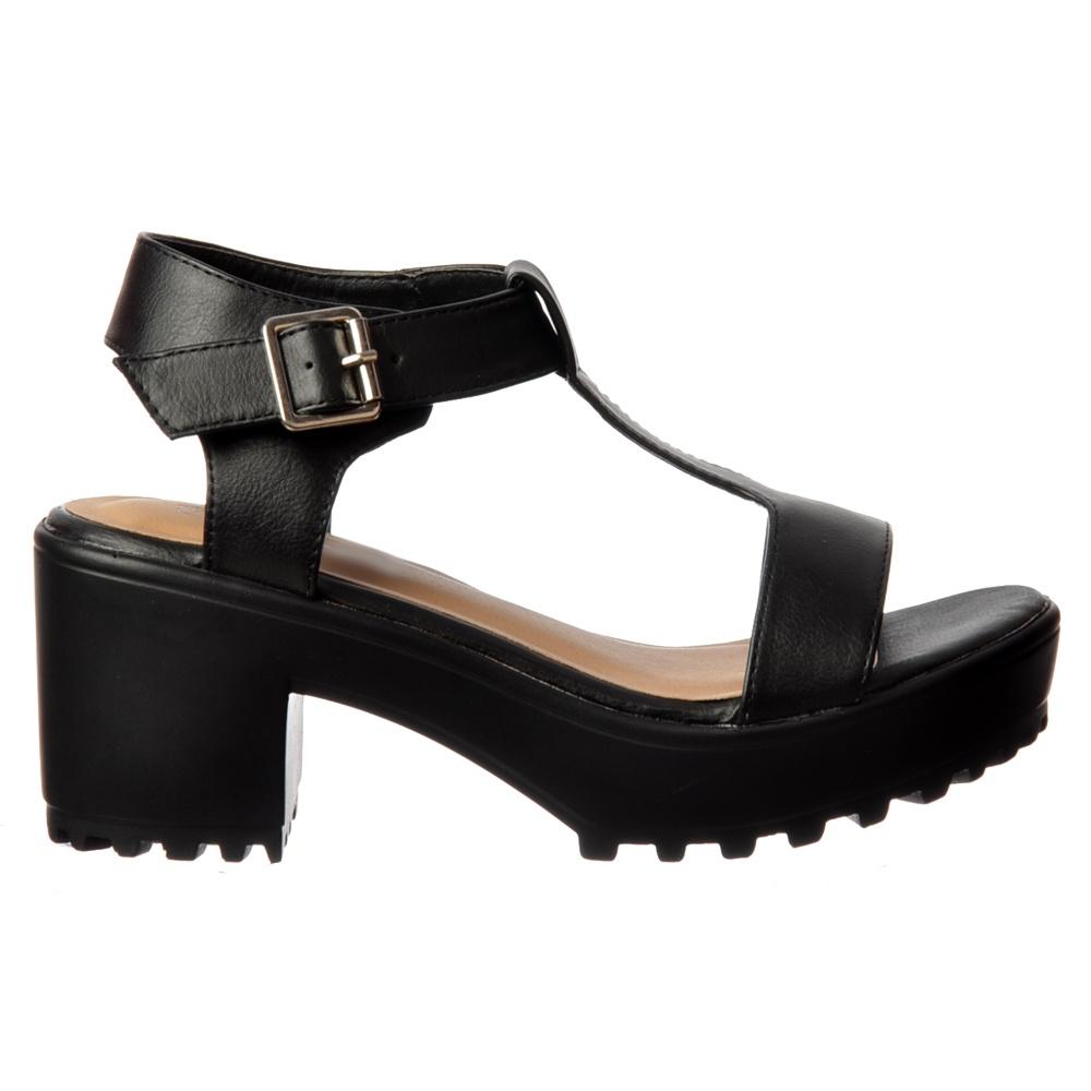 6123bec5e Onlineshoe T Bar Low Block Heel Cleated Sole Summer Sandals - Black ...