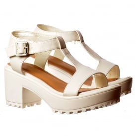T Bar Low Block Heel Cleated Sole Summer Sandals - Black, White