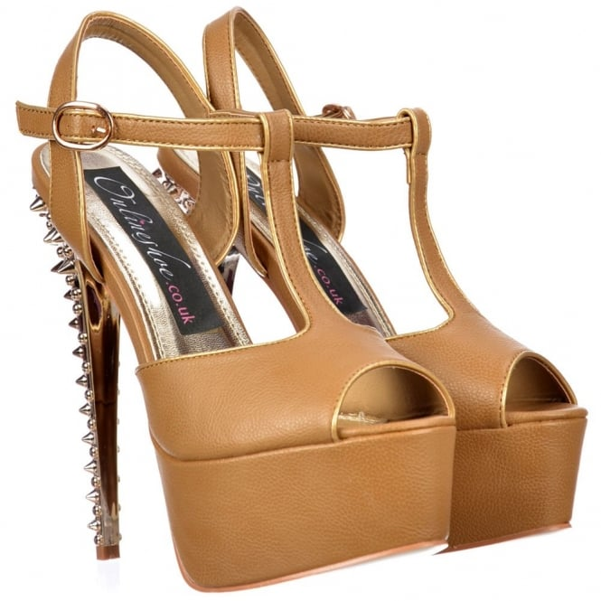 Onlineshoe T Bar Platform Stiletto Sandal - Gold Chrome Spiked Heel - Camel