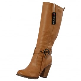 Tall Knee High Biker Boots With Straps - Black, Brown ,Tan