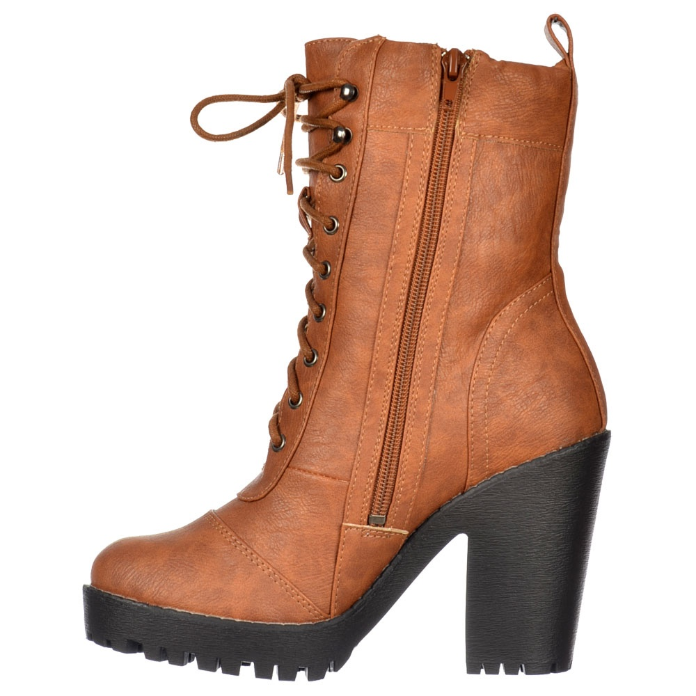 Onlineshoe Tall Military Ankle Boot - Lace Up With Block Heel ...