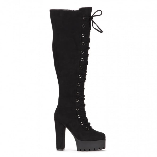 Onlineshoe Tall Over The Knee Thigh High Block Heel Cleated Platform Fully Laced Boot