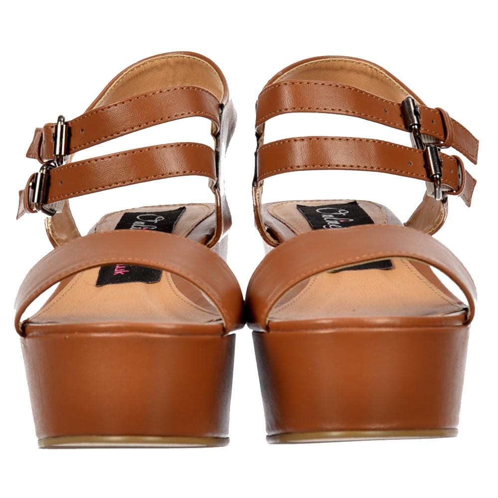 Onlineshoe Tan Low Heel Wedge Sandal