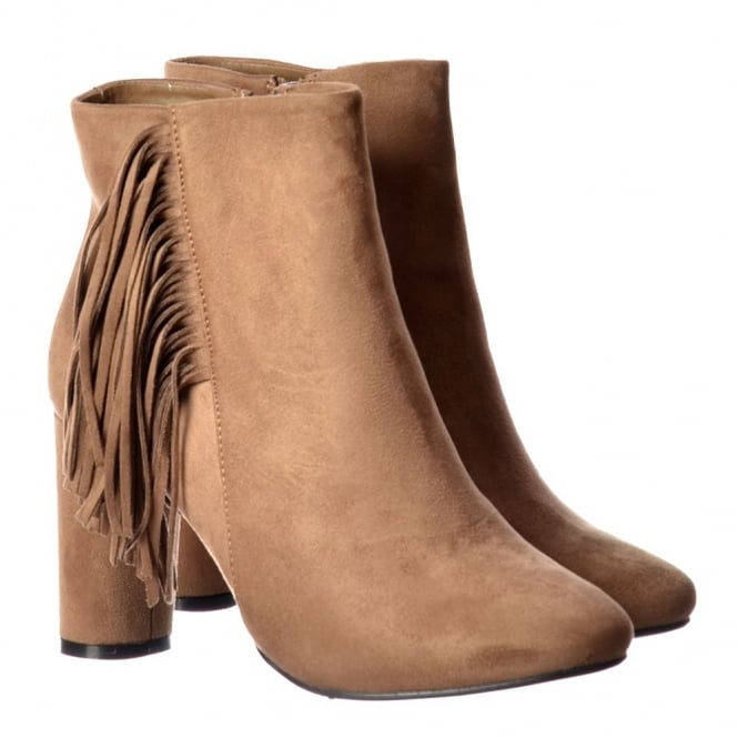 Onlineshoe Tassel and Fringe Suede Block Heeled Ankle Boot - Black, Taupe