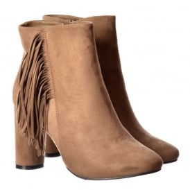 Tassel and Fringe Suede Block Heeled Ankle Boot - Black, Taupe