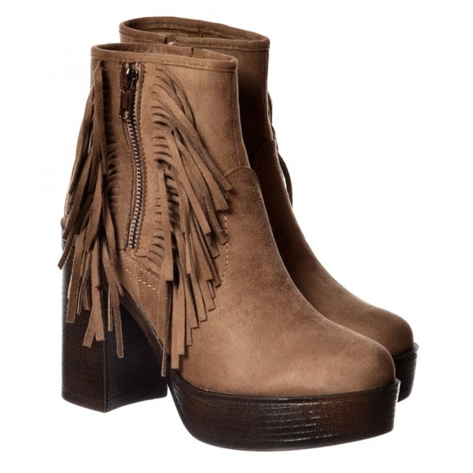 Onlineshoe Tassel and Fringe Suede High Block Heel Ankle Boot - Black, Taupe