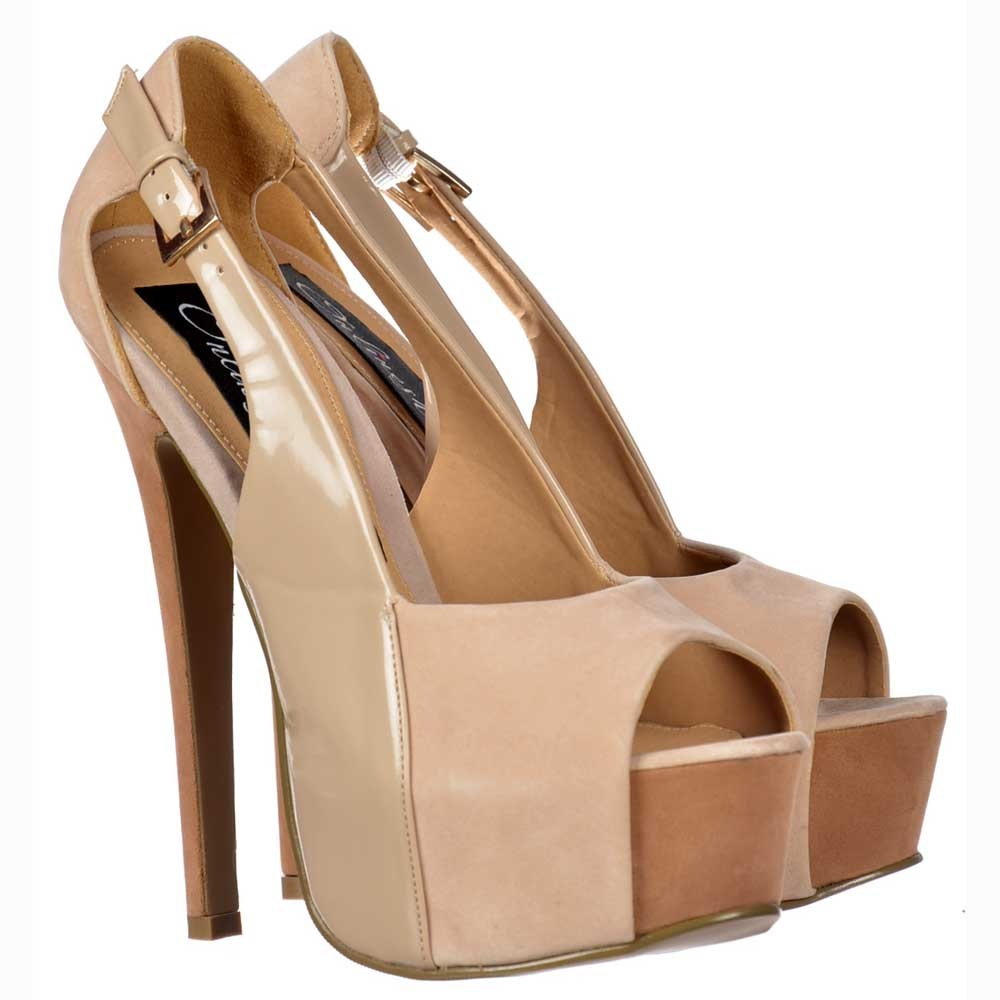194ea138d81 Onlineshoe Three Tone Stiletto Peep Toe Shoes - Patent and Suede - Nude  Beige Tan