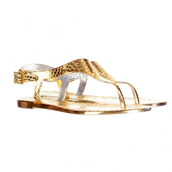 Onlineshoe Toe Post Gladiator Flat Jelly Sandal - Croc Print - Gold, Silver