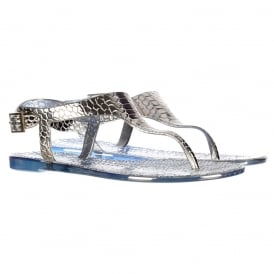 Toe Post Gladiator Flat Jelly Sandal - Croc Print - Gold, Silver