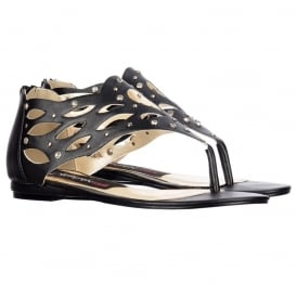 Toe Post Gladiator Flat Sandal - Diamate Jewelled and Studded - Black