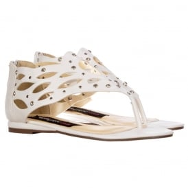 Toe Post Gladiator Flat Sandal - Diamate Jewelled and Studded - White