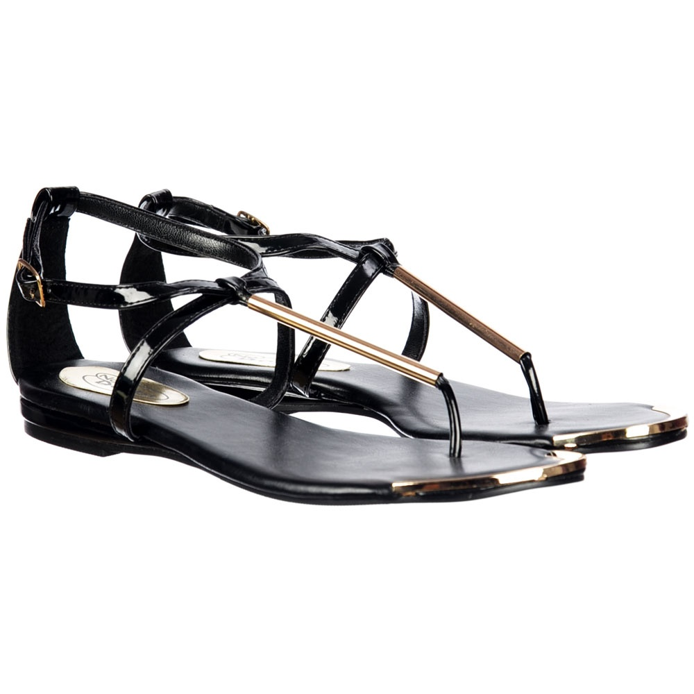 a66a4eb1d Onlineshoe Toe Post Gladiator Flat Sandal - Gold Bar and Toe Plate ...