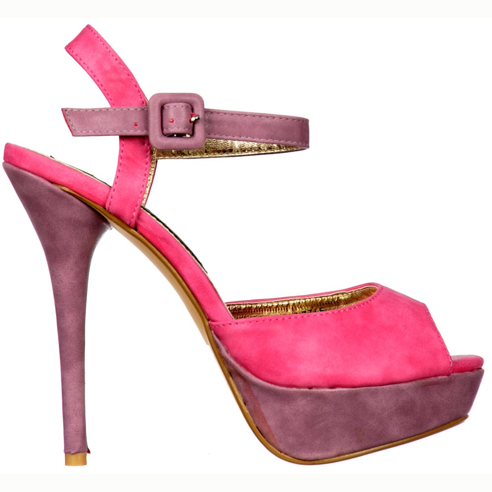ce6510a6373 Onlineshoe Two Tone Suede Peep Toe High Heels - Strappy Sandals - Fuchsia  Pink / Lilac