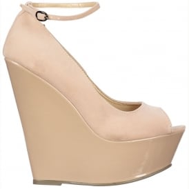 Wedge Peep Toe With Ankle Strap -Suede With Patent Heel - Nude / Beige