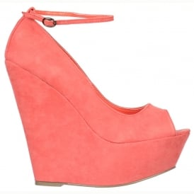 Wedge Peep Toe With Ankle Strap -Suede With Suede Heel - Coral Suede