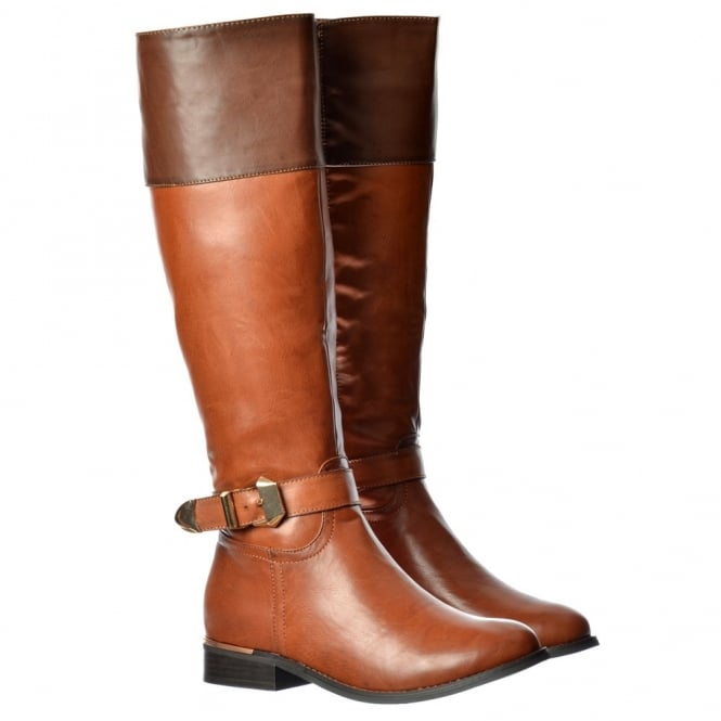 Onlineshoe Wide Calf Knee High Flat Riding Boot Gold Heel And