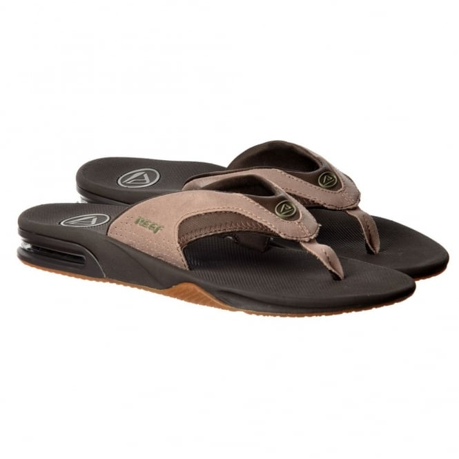 a20c6939dbfbbd Reef Mens Fanning TX Flat Flip Flops With Bottle Opener - Brown   Tan