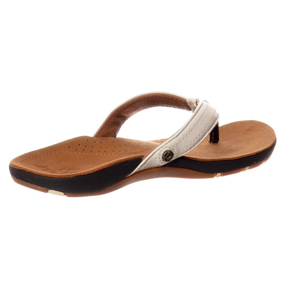 fee3e86d61d0 Reef MISS J-BAY Flip Flops - Leather Upper - Tan   White - WOMENS ...