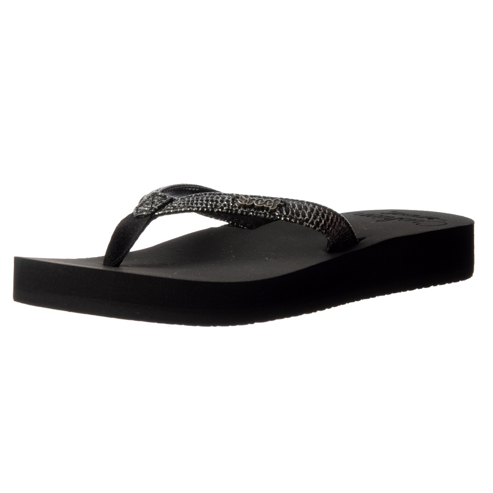 f084445ec801 Reef Star Cushion Sassy Flip Flop Sandal - Black Silver
