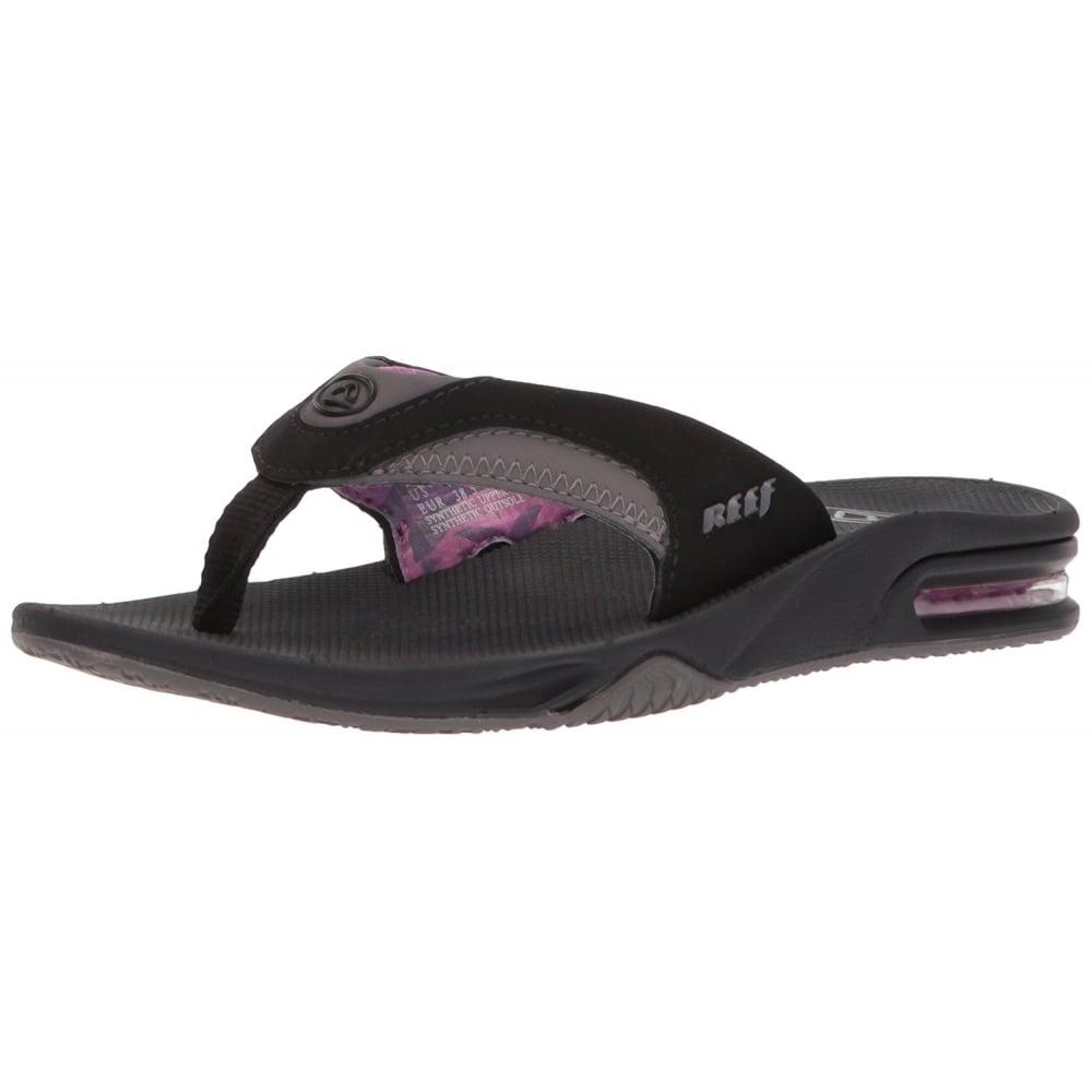 size 40 3248c 08da7 Women's Fanning - Flat Flip Flops With Bottle Opener - Black Grey Purple