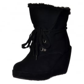 Barney Fur Lined Suede Wedge Heel Ankle Boot