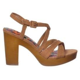 Belize Valencia Fabric Heeled Sandal - Tan