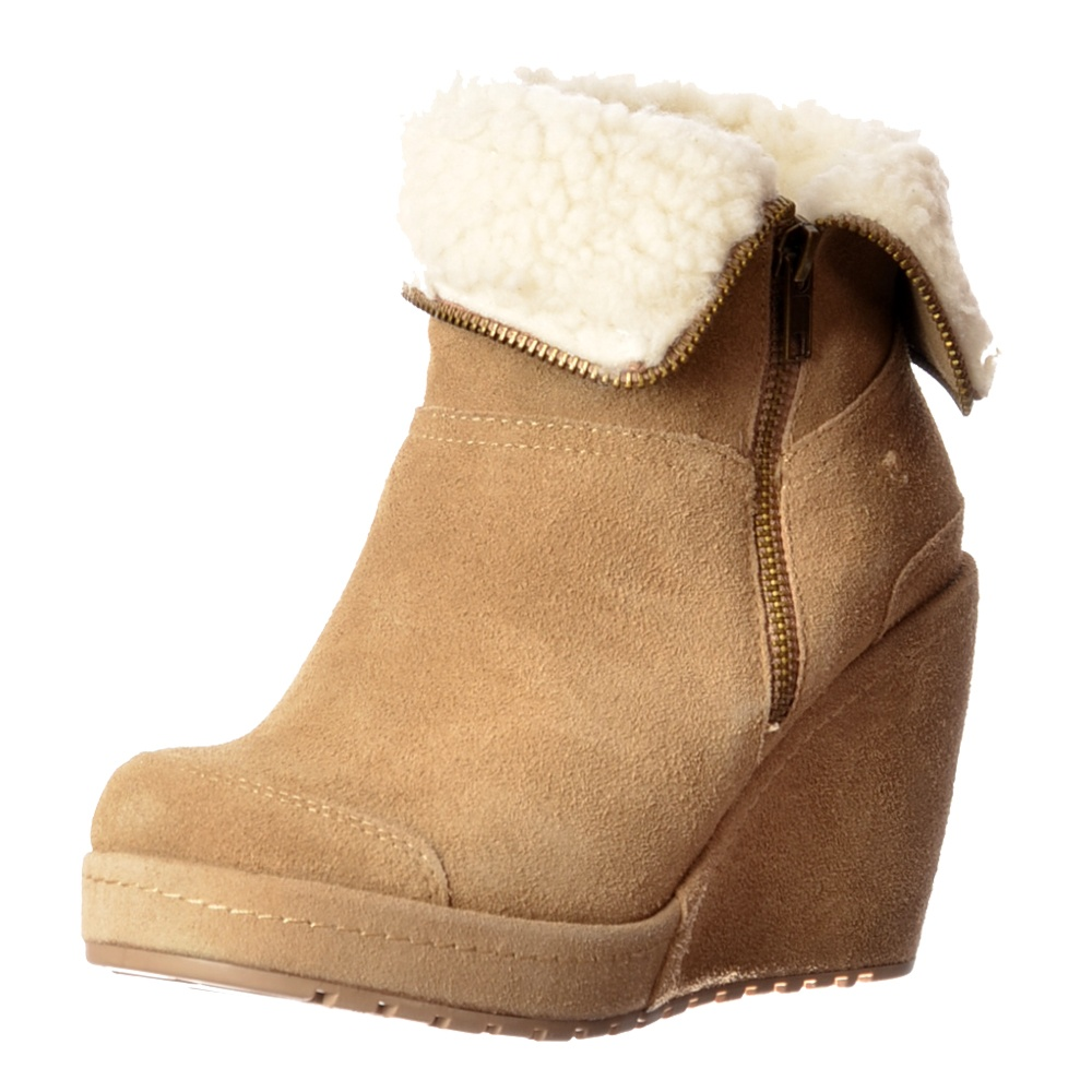Rocket Dog Boyd Fur Lined Suede Wedge Heel Platform Ankle Boots