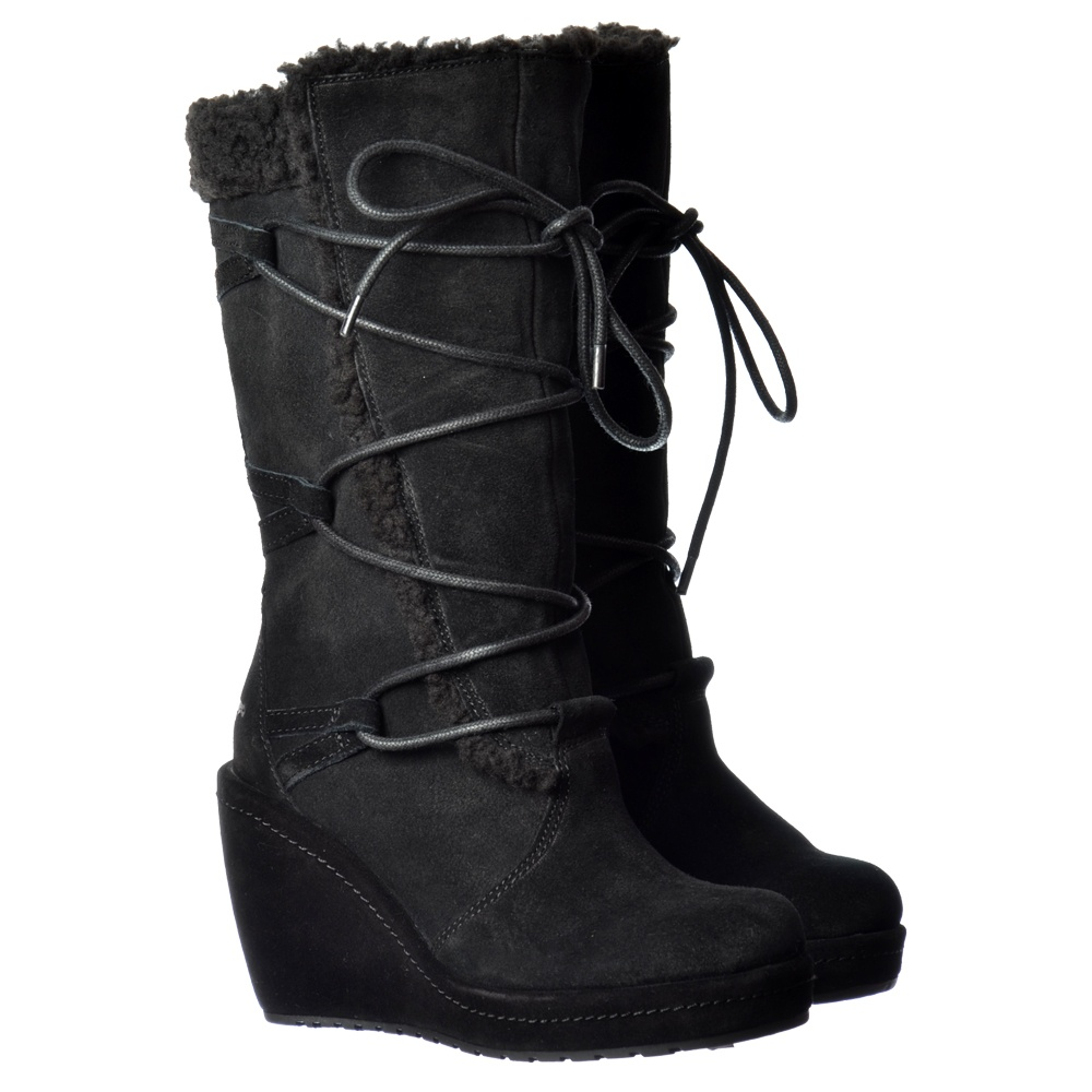 f2ea6b948 Bubbly Wide Calf Fleeced Warm Lace Up Mid Calf Winter Boot - Black Suede