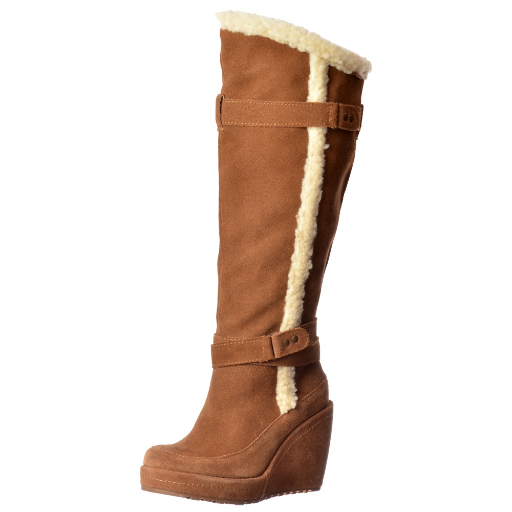 Buni Fleeced Tall Knee High Wedge Heel Suede Winter Boot