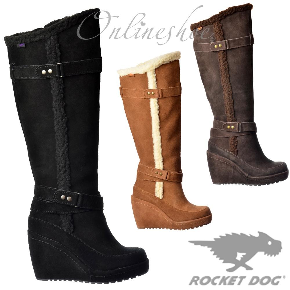 48114847199 Buni Fleeced Tall Knee High Wedge Heel Suede Winter Boot
