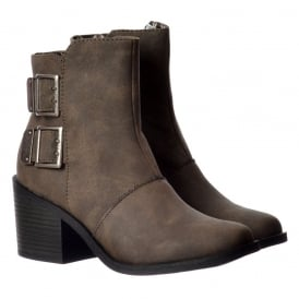 Dundee Ankle Boots - Double Buckle - Grey