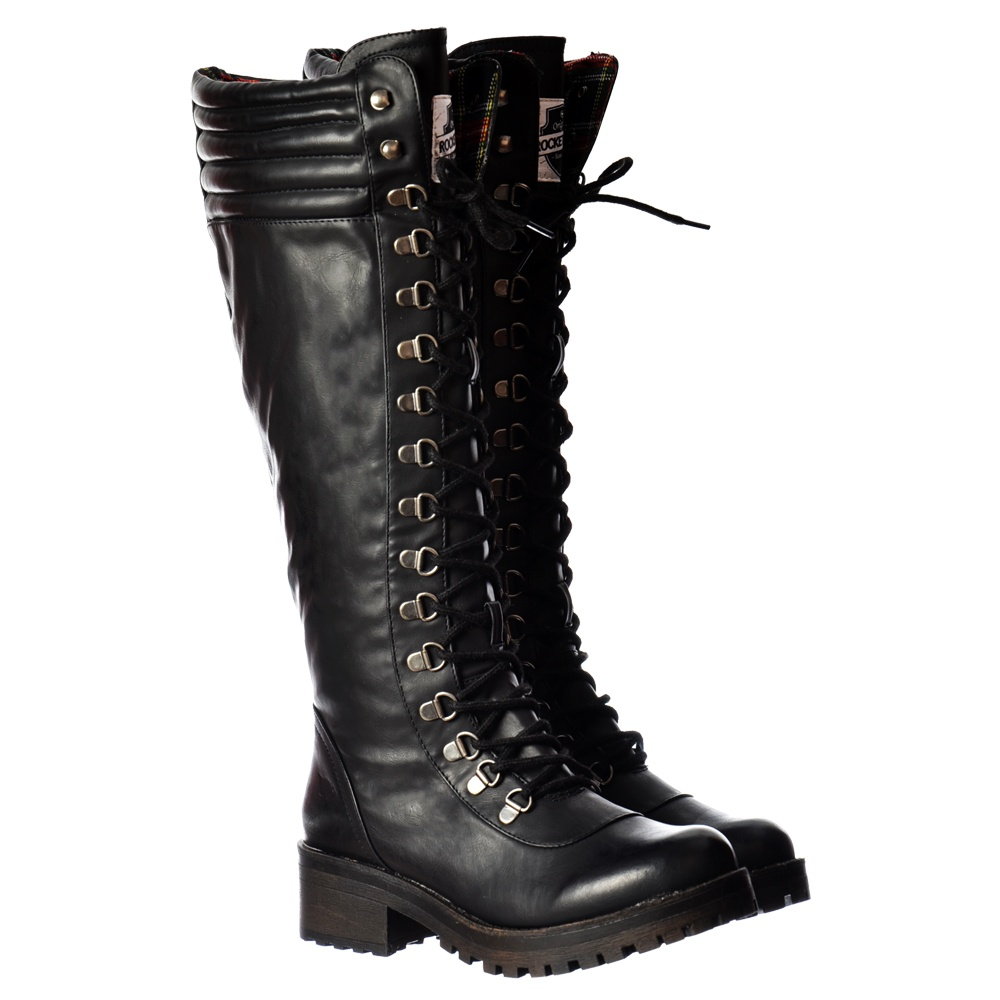 e86098a9d5 Landers Bromley Knee High Military Style Lace Up Boots - Black, Brown
