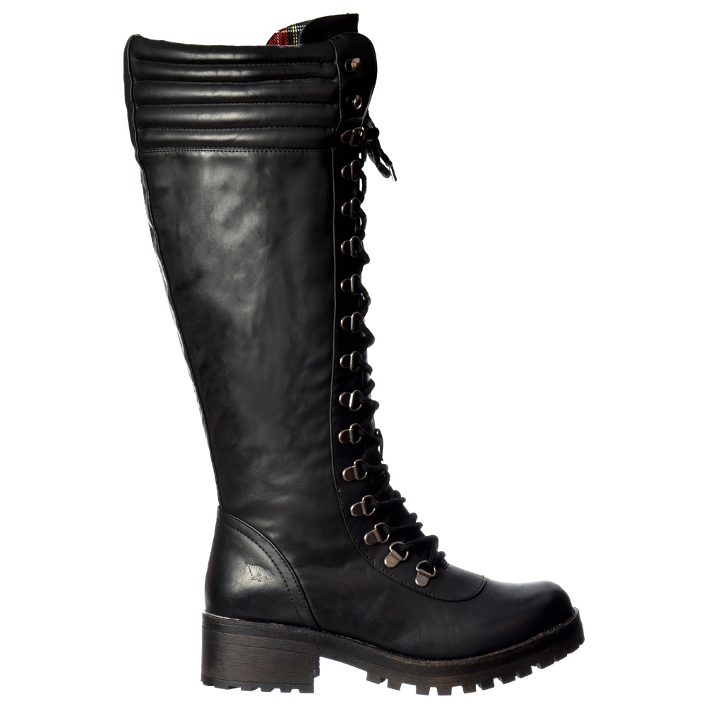 Rocket Dog Landers Bromley Knee High Military Style Lace Up Boots ... 49ad2ddab