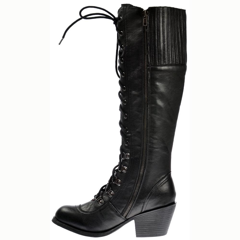 f5130c9316d Rocket Dog Rachel Tall Military Slick PU Boots - WOMENS from ...