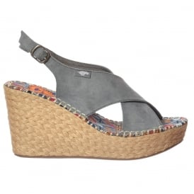 Rue Wedge Sandal - Slingback - Dusty Blue