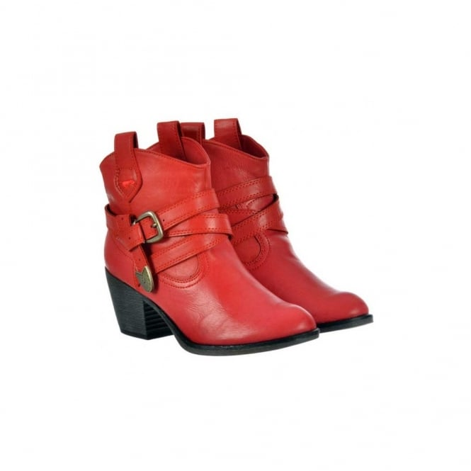 Rocket Dog Satire Slick PU Cowboy Western Ankle Boots - Red