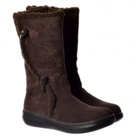 Slope Suede Classic Calf Fur Winter Boots - Cow Suede - Black, Chestnut Brown, Chocolate Brown