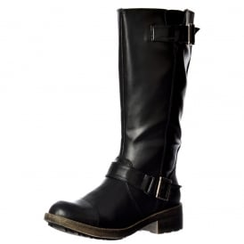 Terry Vintage Worn / Bromley Flat Mid Calf High Biker Boots