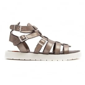 Thana Gladiator Cleated Sole Buckled Sandal - Pewter