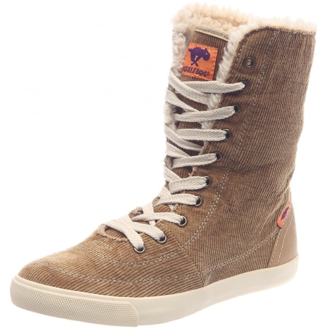 Rocket Dog Tracy Washed Corduroy Lace Up Fleece Lined Boot