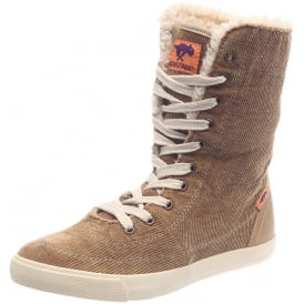 Tracy Washed Corduroy Lace Up Fleece Lined Boot