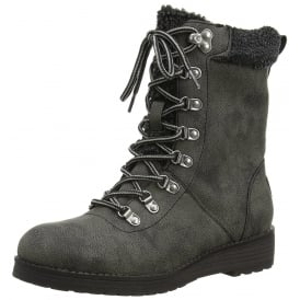 Weekender Military Lace Up Fleece Lined Ankle Boots