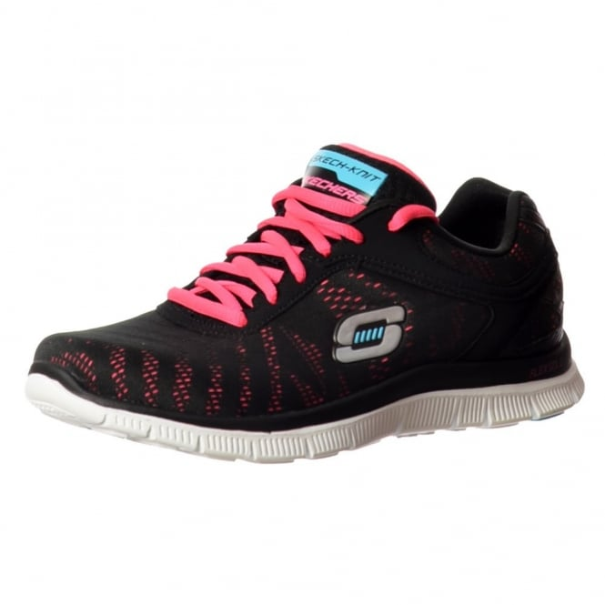 Skechers First Glance Memory Foam Flex Appeal Lifestyle Trainers - Black / Hot Pink