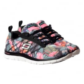 Floral Bloom Memory Foam Flex Appeal Lifestyle Trainers - Black / Multi