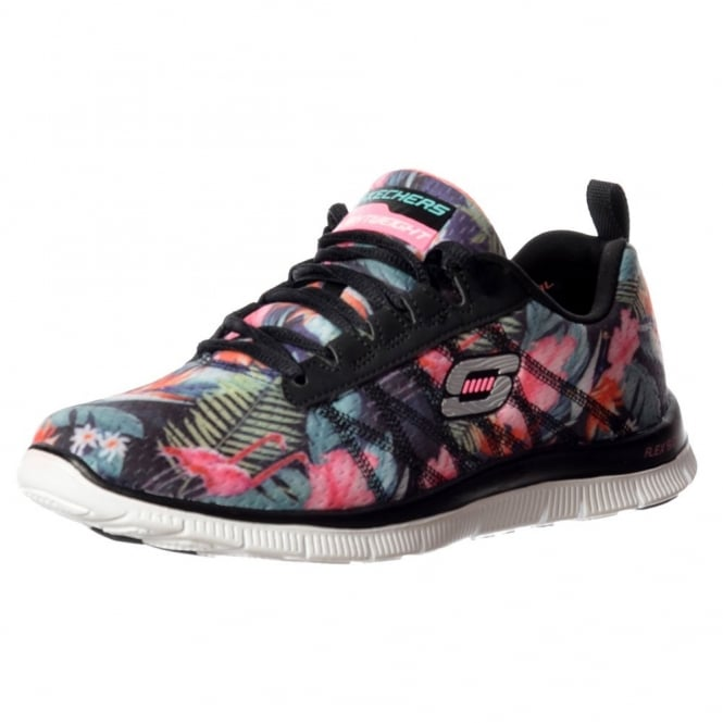 Skechers Floral Bloom Memory Foam Flex Appeal Lifestyle Trainers - Black / Multi