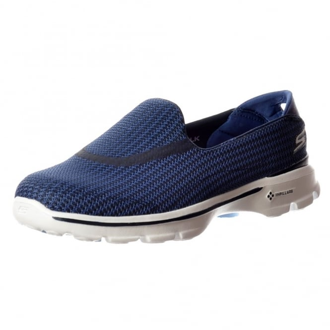 Skechers Go Walk 3 Performance Division Memory Foam Walking Shoes - Navy / Light Blue, Purple, Black