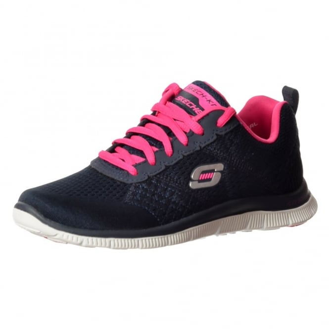 Skechers Obvious Choice Memory Foam Flex Appeal Lifestyle Trainers - Navy / Pink