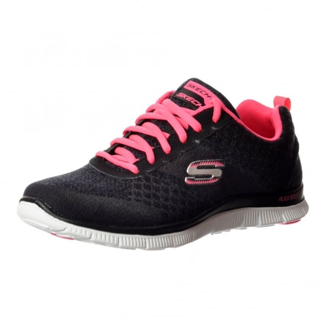 Skechers Simply Sweet Memory Foam Flex Appeal Lifestyle Trainers - Black Hot / Pink