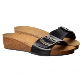 Chloe Full Leather - Single Strap Buckled Flip Flop Sandal - Black, Tan